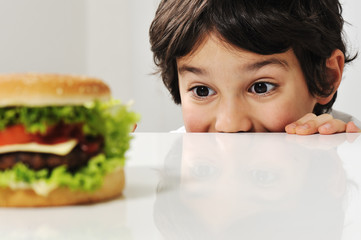 Kid and burger
