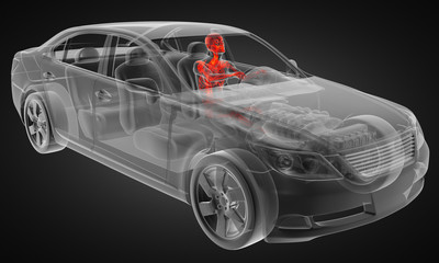 transparent car concept with driver