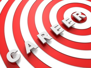 career concept text over the red and white target