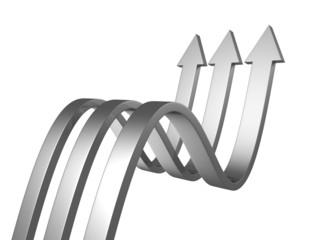 three metallic arrows on a white background