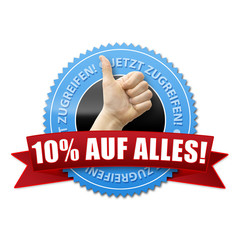 10% auf alles! Button, Icon
