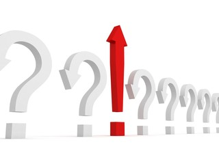 Large red exclamation mark arrow in white questions row