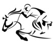 show jumping emblem - outline of horse and jockey