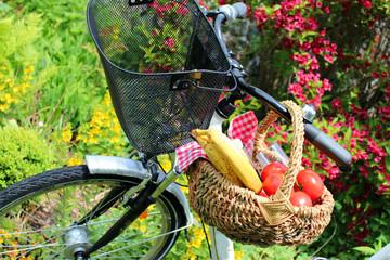 picknick auf dem fahrrad