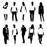 Isolated silhouettes of people walking.Vector illustration