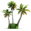 Tropical trip and elegant green luggage