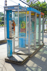 Public telephones on footpath