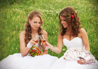 Two brides sitting in the grass and clinking glasses