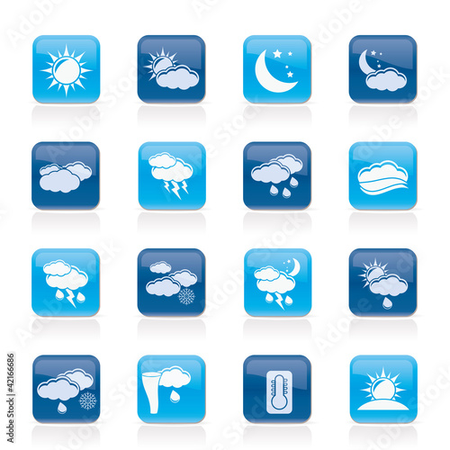 Weather and meteorology icons - vector icon set