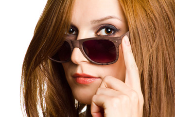 Portrait of a woman in sunglasses.