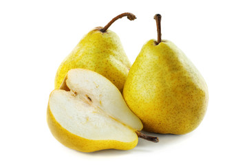 Two and a half pears on a white background