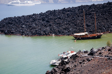 sailing ship moored off the Volcano Santorini Greece