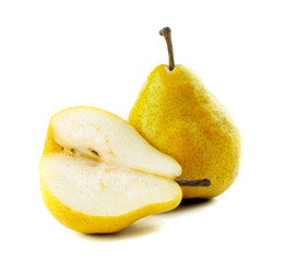 One and a half pears on a white background