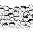 Crowd of funny peoples, seamless background for your design