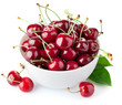 Fresh Cherry Berries With Gree...