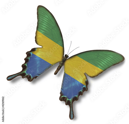 Gabon flag on butterfly