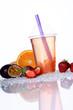 Bubble Tea Erdbeere mit popping Boba Passionsfrucht und Orange