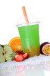 Bubble Tea green apple mit Boba Orange und Passionsfrucht