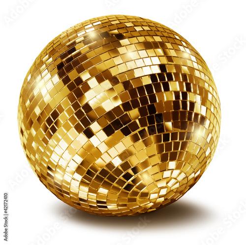 Golden disco mirror ball - 42172410