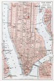 Vintage map of South Manhattan - New York