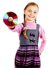 Little Schoolgirl with a disk in his hand