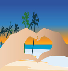 Hands doing a heart on the beach logo vector