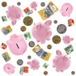 Piggy Banks and Australian Money Falling over White