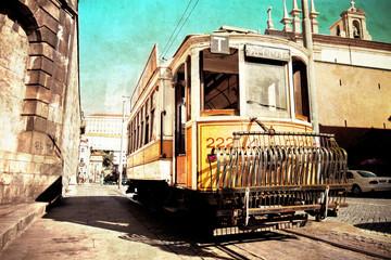 antike Straßenbahn in Porto