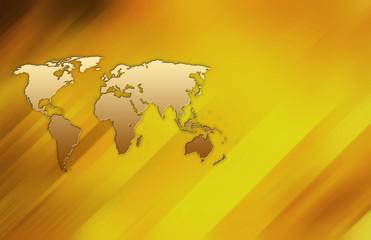 world map on golden plate
