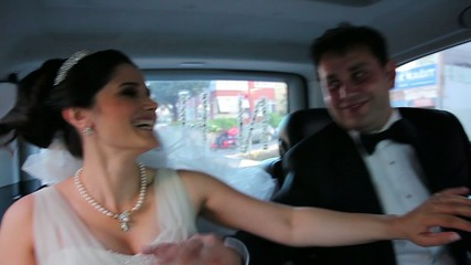 bride and groom have a fun in the car 2