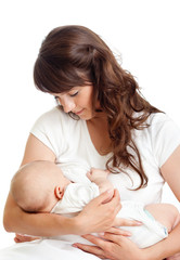 young mother breast feeding her infant