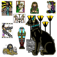 Character scene action egypt background design