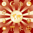 One World, Many Faiths, 12 world religion symbols, labels, map