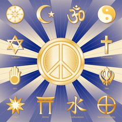 International Peace Symbol, twelve world religions, labels