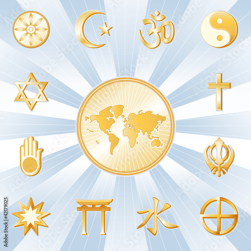 One World, Many Faiths, 12 world religion symbols, earth map