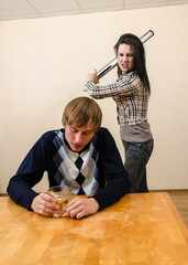Domestic violence: Wife trying to beat her husband