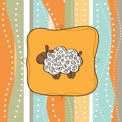 funny greeting card with cartoon sheep