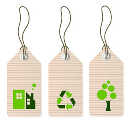 Eco tags set isolated on white ( green )