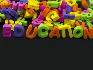 education title made of rubber letters