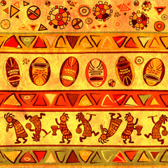 Seamless background with african traditional patterns