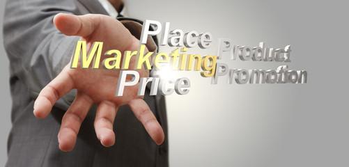 3d marketing4p diagram as concept