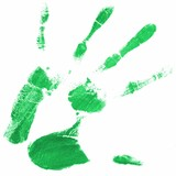 hand print with green color