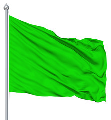 Green blank flag with flagpole