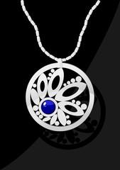 Elegant jewel with blue stone on black background.