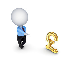 3d small person and pound sterling sign