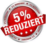 """Button Banner """"5% reduziert"""" rot/silber"""