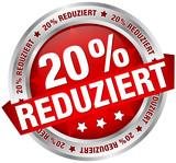 """Button Banner """"20% reduziert"""" rot/silber"""