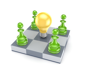 Green pawns around yellow lamp.