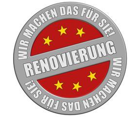 Schild graurot rund rt WMDFS RENOVIERUNG
