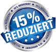 """Button Banner """"15% reduziert"""" blau/silber"""